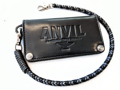 Braided Leather Wallet Chain - Gray and Black - Anvil Customs