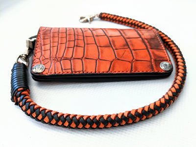Braided Leather Wallet Chain - Orange and Black - Anvil Customs