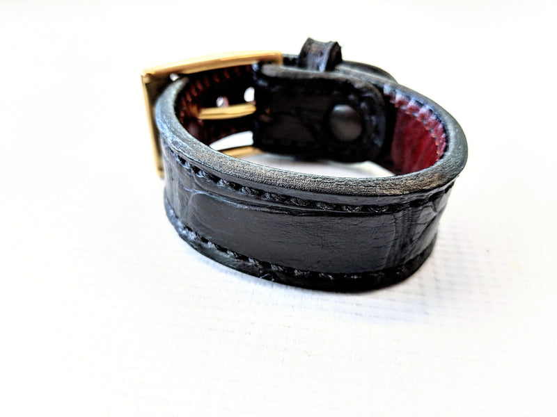 Buckled Leather Cuff - Black Alligator - Anvil Customs