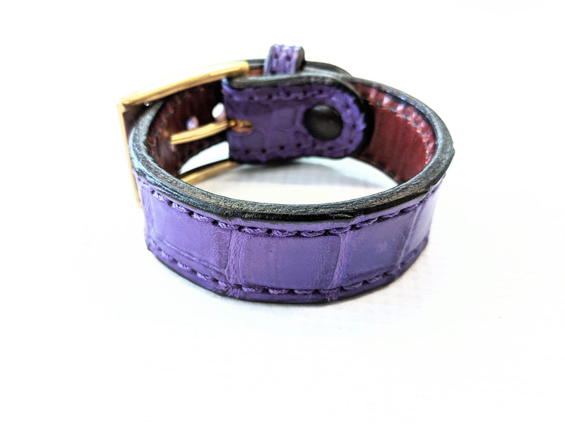 Buckled Leather Cuff - Durple Purple Alligator - Anvil Customs