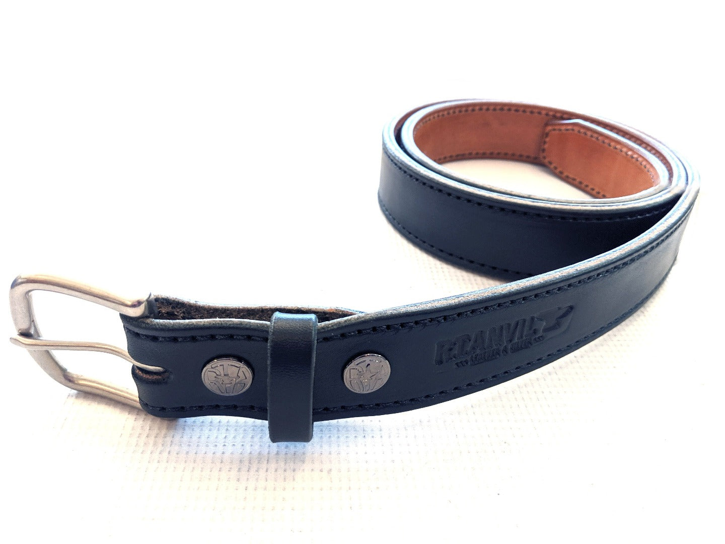 Custom Leather Belt - 2 Ply Stitched Gun Belt - Anvil Customs