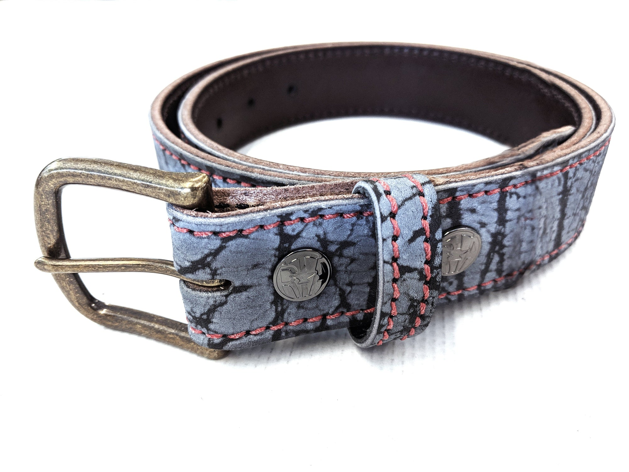 Custom Leather Belt - Denim Blue Giraffe