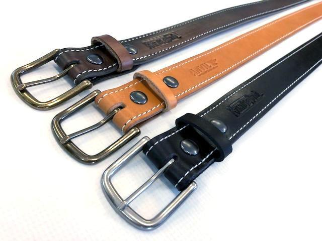 Custom Leather Belt with Contrast Stitching