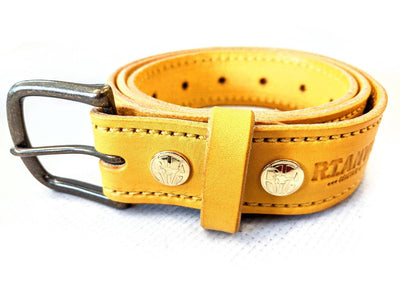 Custom Leather Belt - Yellow Leather - Anvil Customs