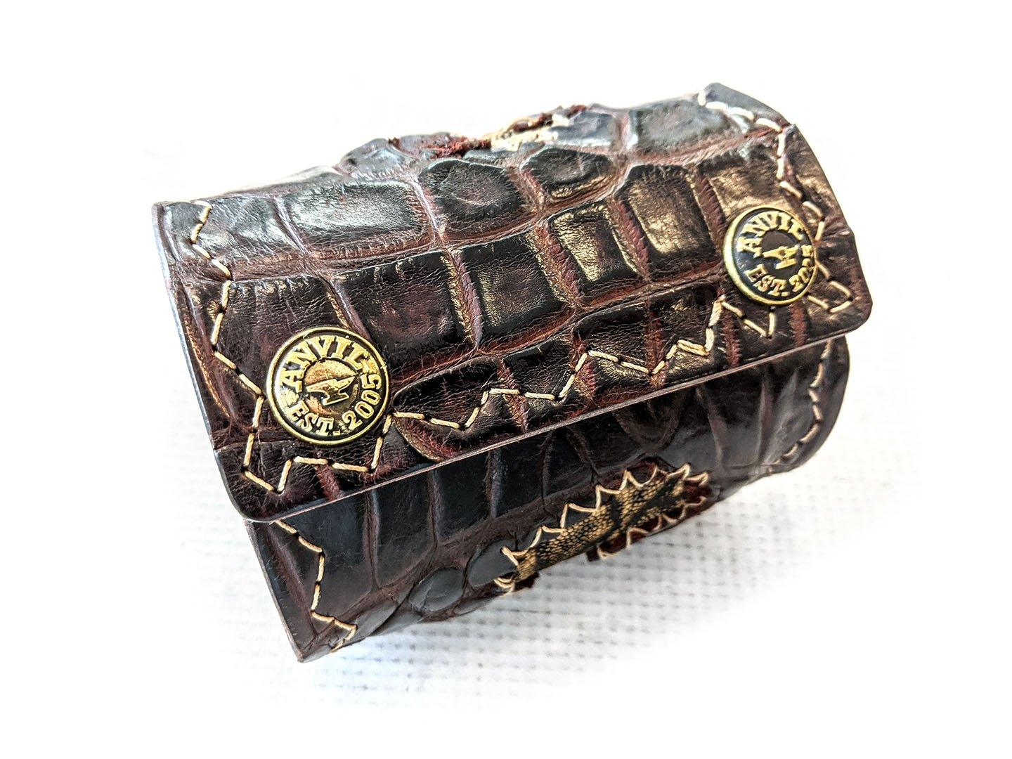 "Extra Wide Leather Cuff - 8.75"" Burnt Umber Alligator Cloaca with Elephant Inlay - Anvil Customs"