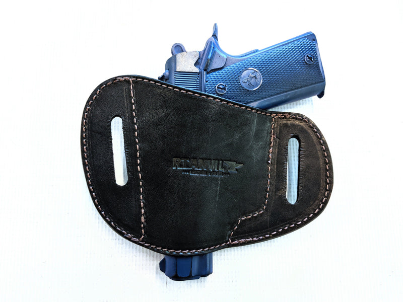 Gun Holster - Black Alligator with Brown Stitch - Anvil Customs