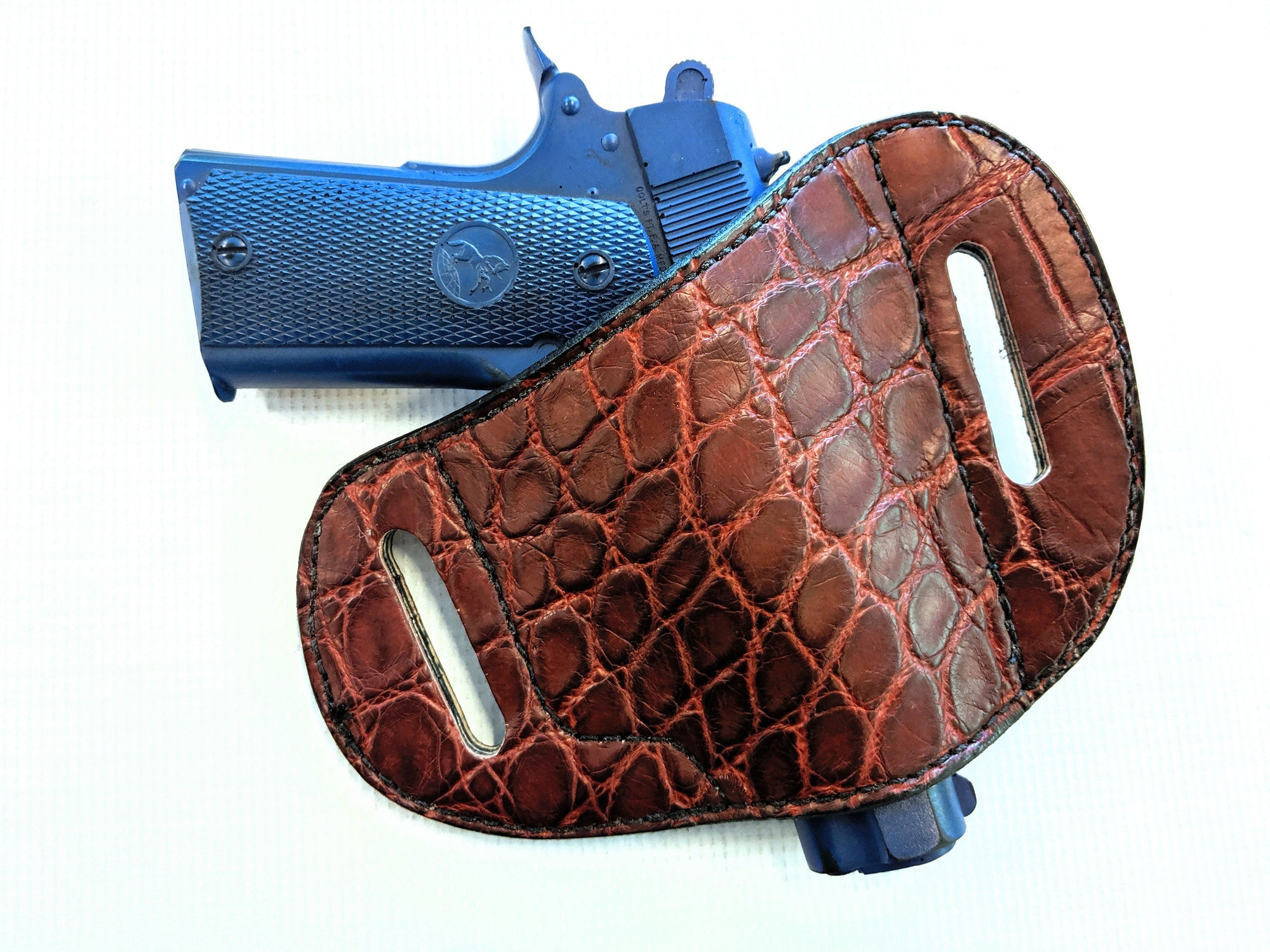 Gun Holster - Burgundy Alligator with Black Stitch - Anvil Customs