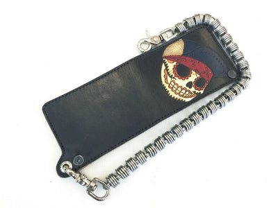Hand Stained Bifold Leather Chain Wallet - Flatbiller Skull - Anvil Customs