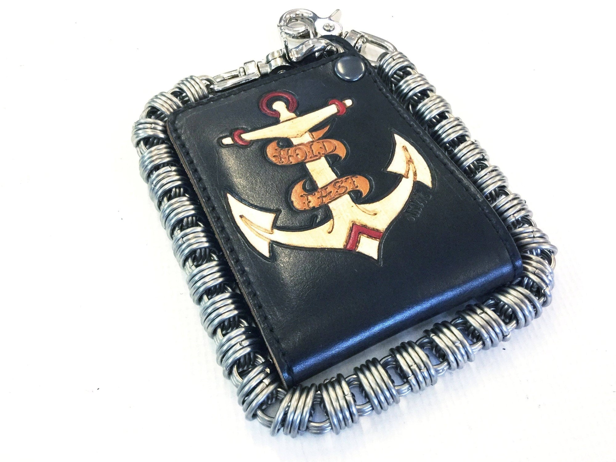 Hand Stained Bifold Leather Chain Wallet - Hold Fast - Anvil Customs
