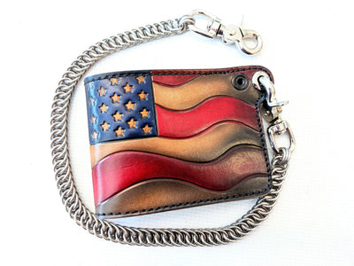 Hand Stained Bifold Leather Chain Wallet - Old Glory - Anvil Customs