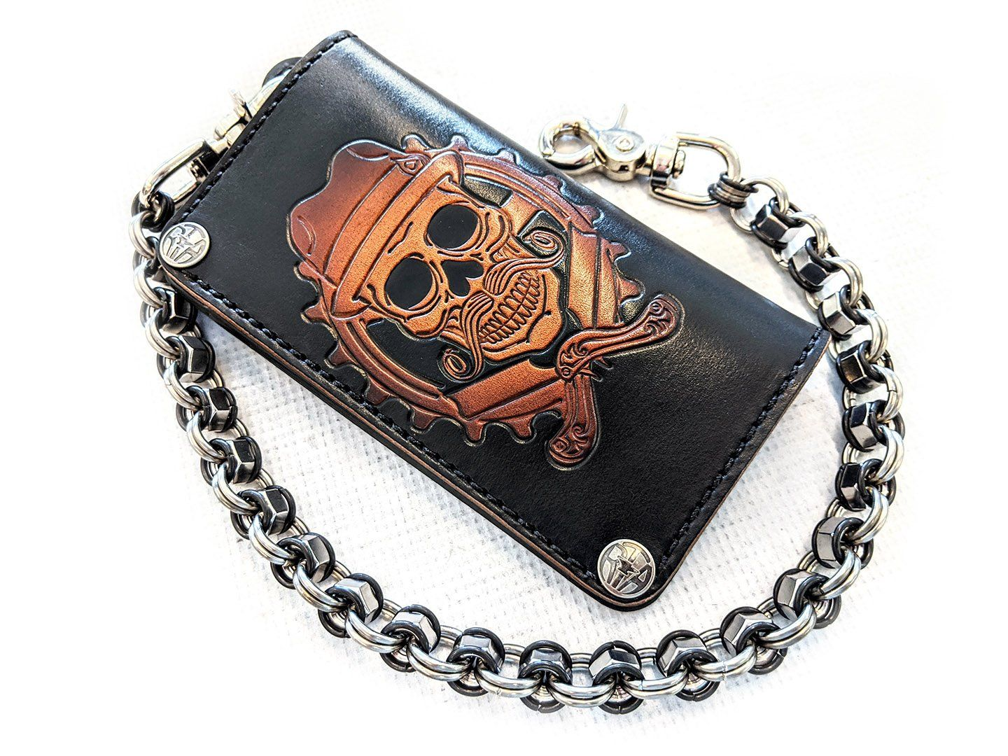 Hand Stained Long Biker Leather Chain Wallet - Cholo Skull - Anvil Customs