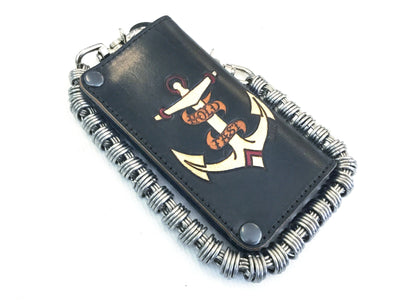 Hand Stained Long Biker Leather Chain Wallet - Hold Fast Anchor - Anvil Customs