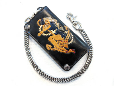 Hand Stained Long Biker Leather Chain Wallet - Pin Up Sailor - Anvil Customs