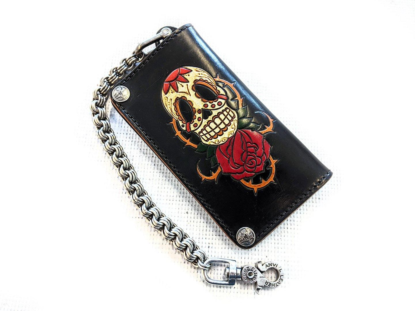 Hand Stained Long Biker Leather Chain Wallet - Skull and Rose