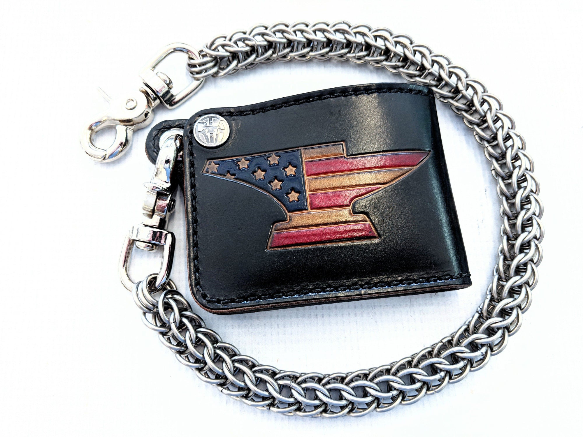 Hand Stained Mini Bifold Leather Chain Wallet - Anvil American Flag - Anvil Customs