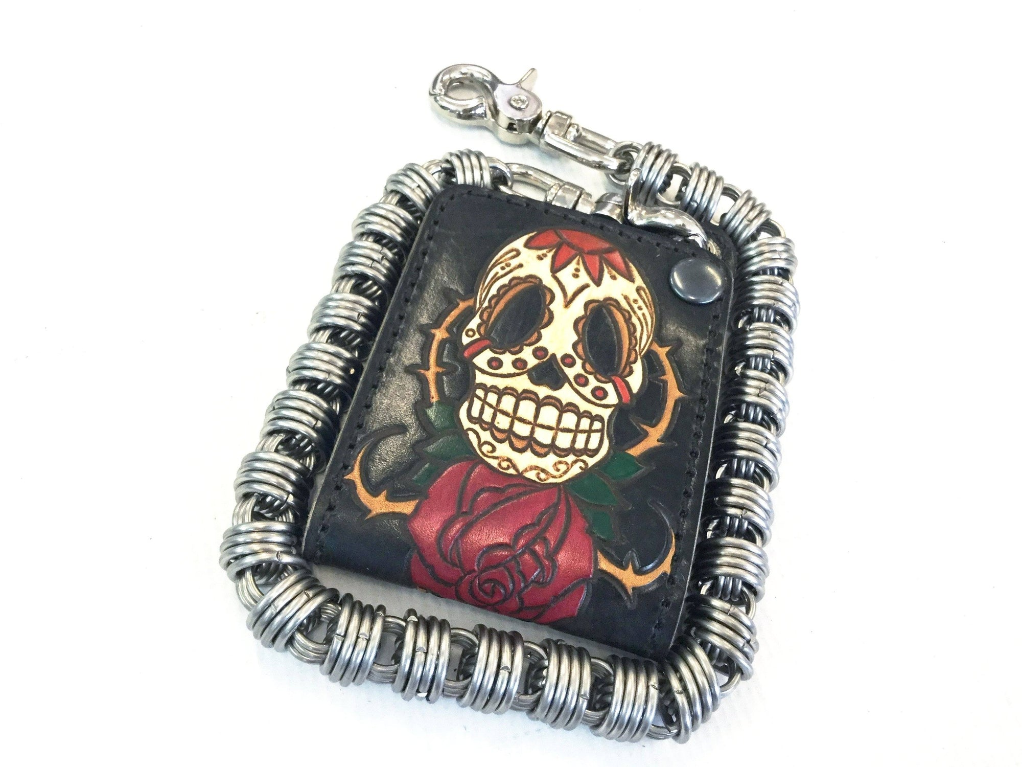 Hand Stained Mini Bifold Leather Chain Wallet - Skull and Rose - Anvil Customs