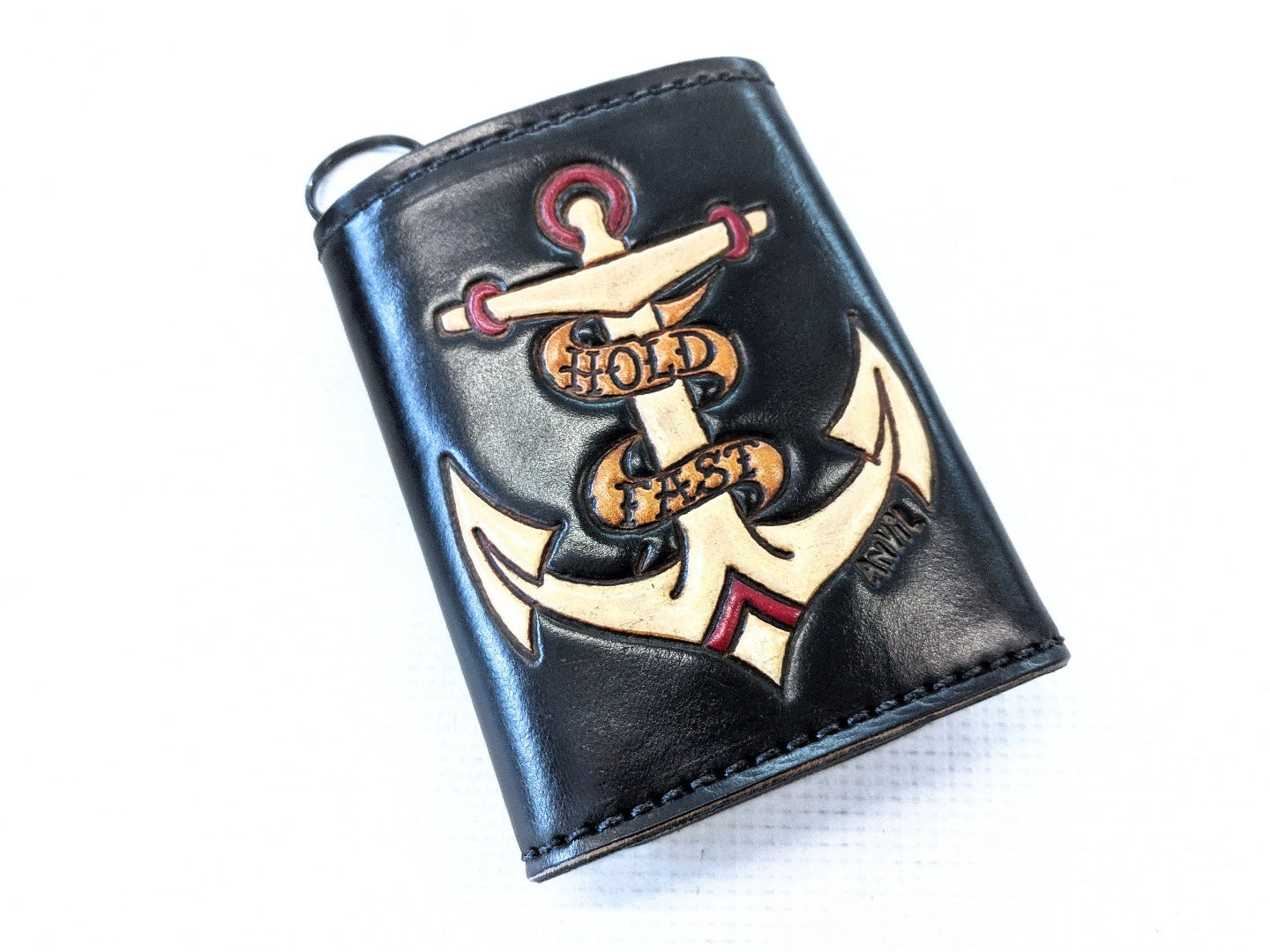 Hand Stained Trifold Leather Chain Wallet - Anvil Customs