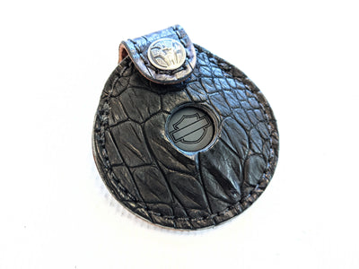 Harley-Davidson Remote Alarm Key Fob - Matte Black and Dark Denim Blue Alligator - Anvil Customs