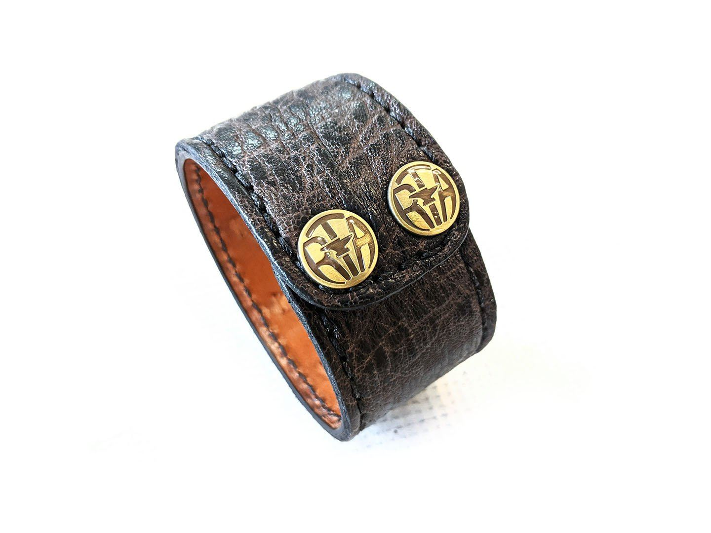 "Leather Cuff - 8.5"" Nicotine Elephant - Anvil Customs"
