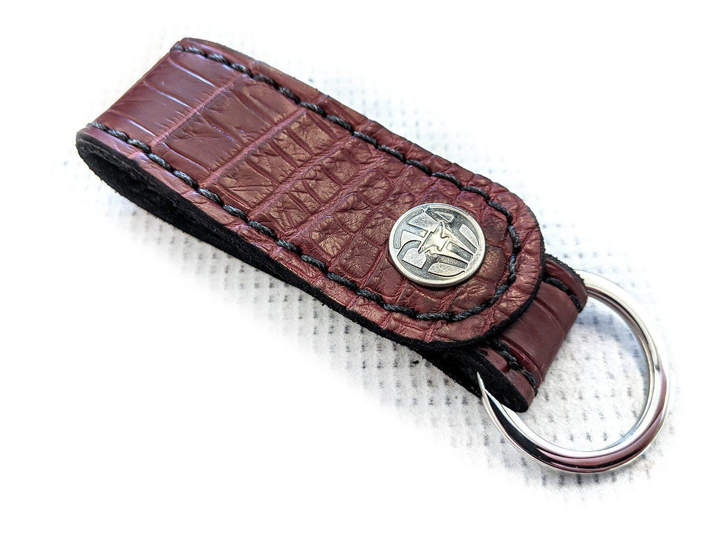 Leather Loop - Burgundy Alligator