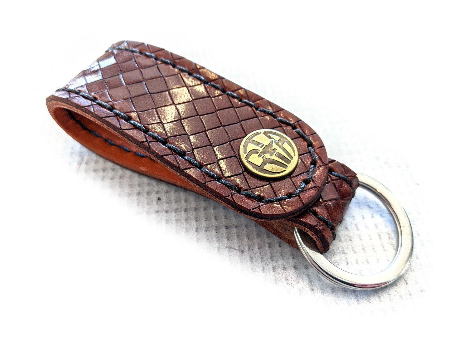 Leather Loop - Mahogany Diamond Basket Weave