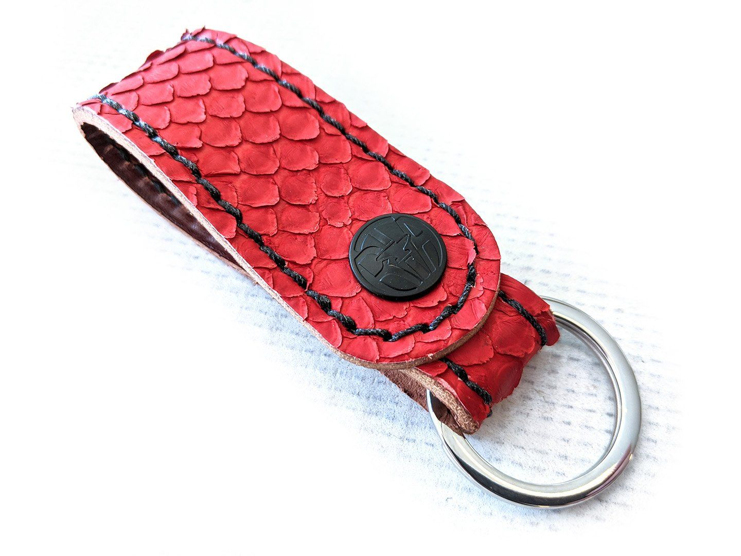 Leather Loop -  Matte Red Python