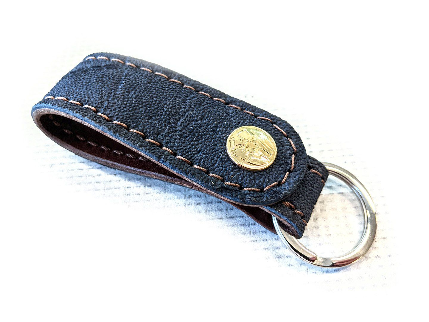 Leather Loop - Navy Blue Elephant with Brown Stitch