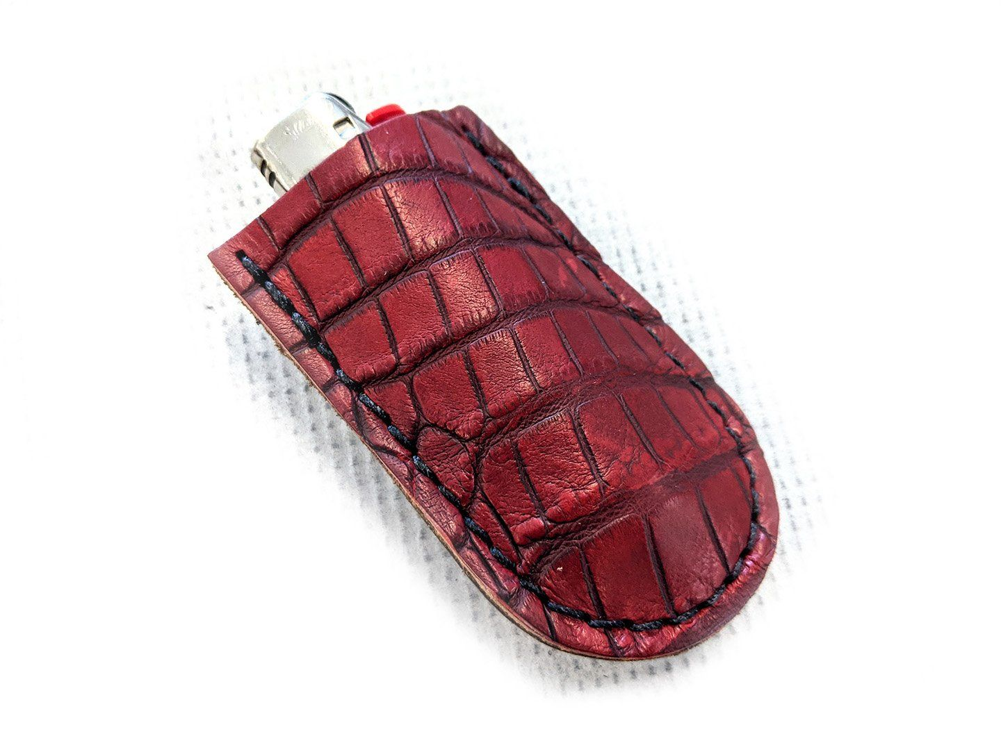 Limited Run Bic Lighter with Leather Case - Dragon's Blood Red Alligator
