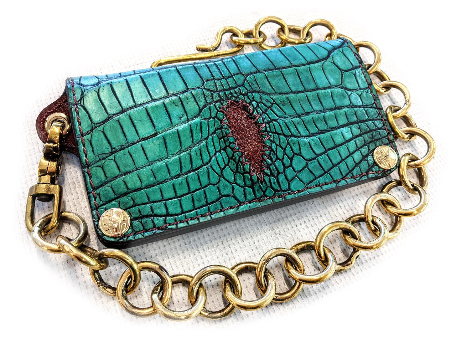 Long Biker Chain Wallet - Antique Kelly Green with Burgundy Inlay