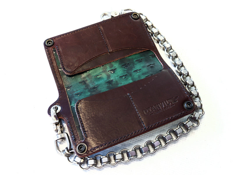 Long Biker Chain Wallet -Antiqued Forest Green Alligator - Anvil Customs