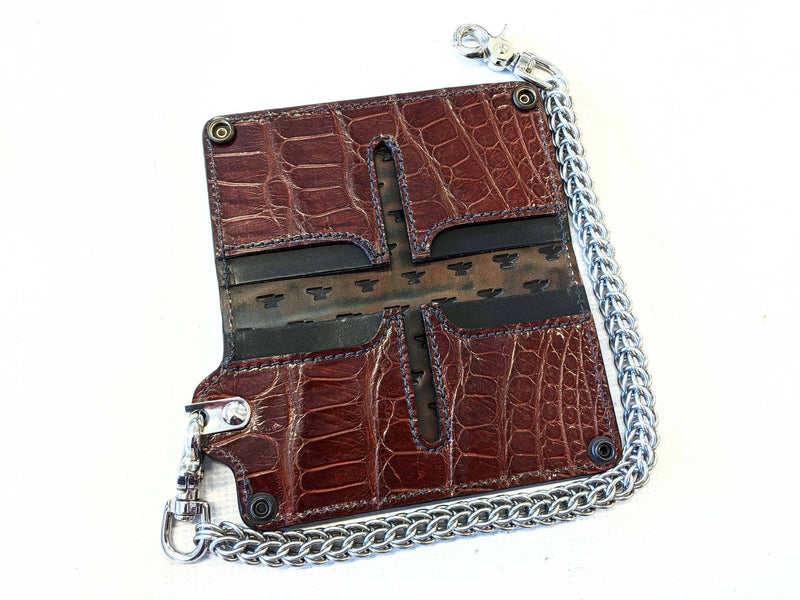 Long Biker Chain Wallet - Bourbon Alligator - Anvil Customs