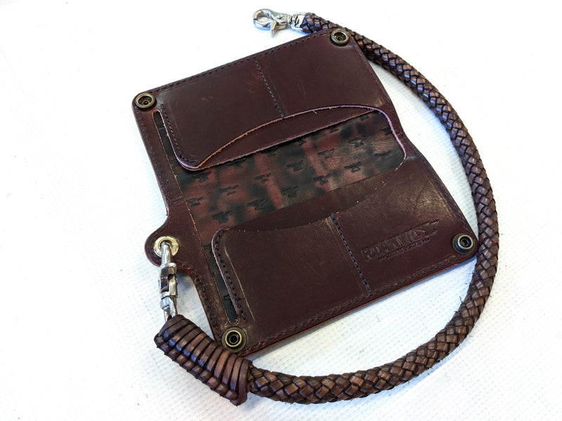 Long Biker Chain Wallet - Burnt Umber Alligator 1 - Anvil Customs