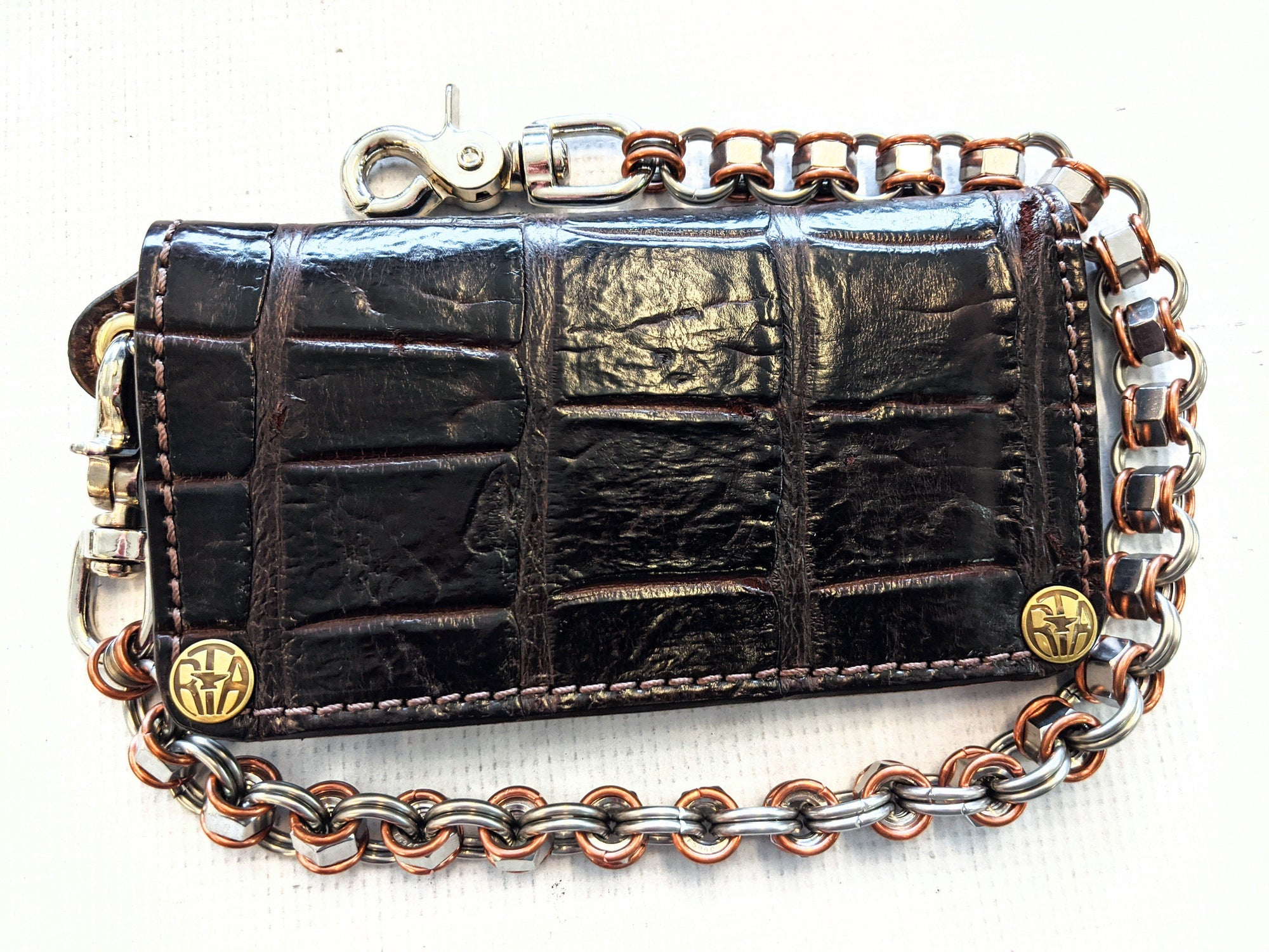 Long Biker Chain Wallet - Burnt Umber Alligator - Anvil Customs
