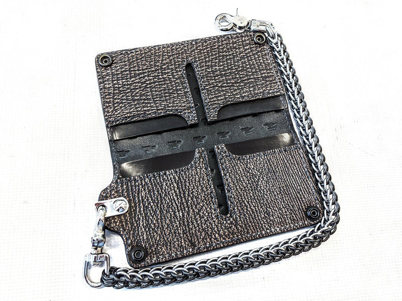 Long Biker Chain Wallet - Dark Brown Shark - Anvil Customs