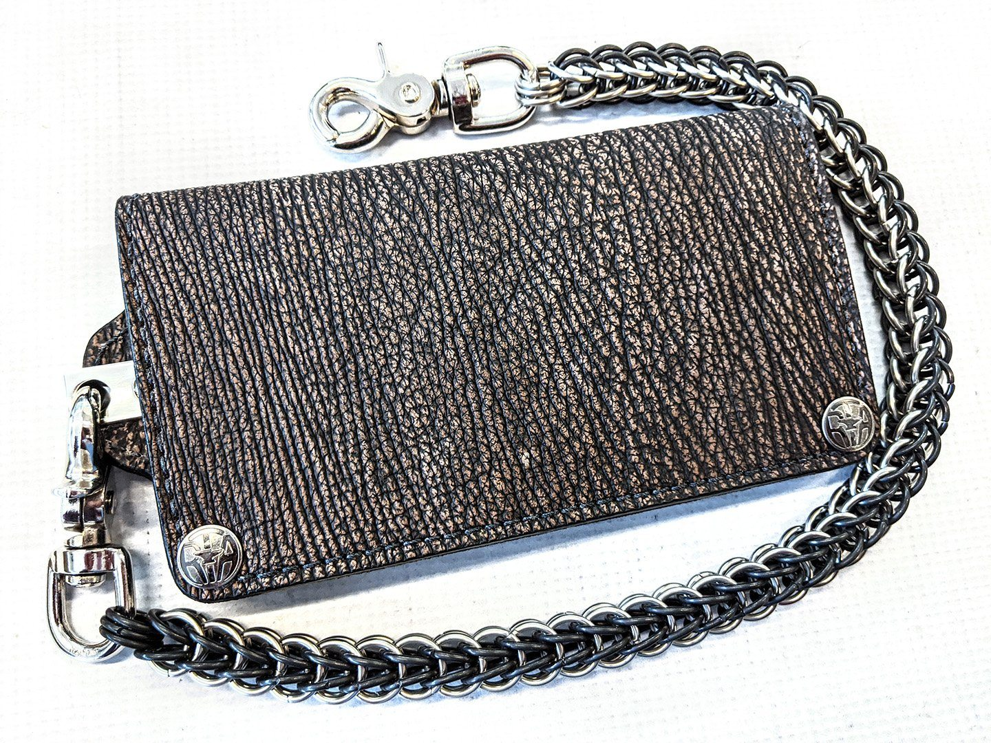 Long Biker Chain Wallet - Dark Brown Shark