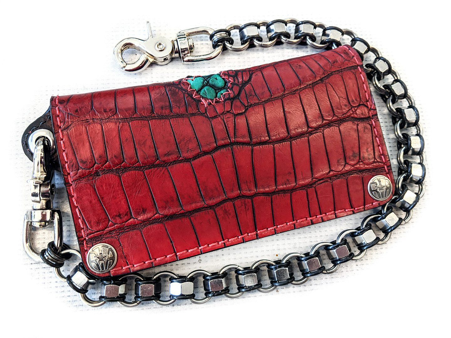 Long Biker Chain Wallet - Dragon's Blood Alligator with Green Inlay