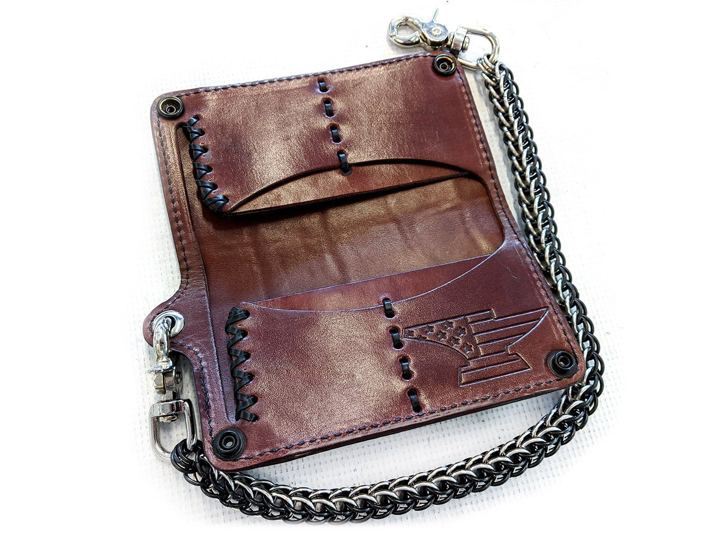 Long Biker Chain Wallet - Kangaroo Laced Brown Alligator
