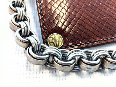 Long Biker Chain Wallet - Mahogany Diamond Basket Weave