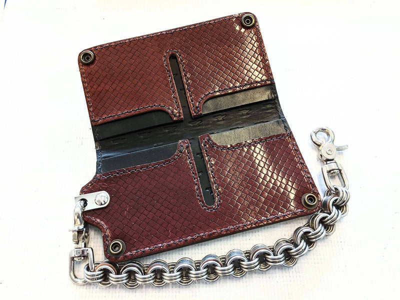 Long Biker Chain Wallet - Mahogany Diamond Basket Weave - Anvil Customs