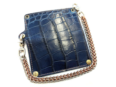 Long Biker Chain Wallet - Navy Alligator - Anvil Customs