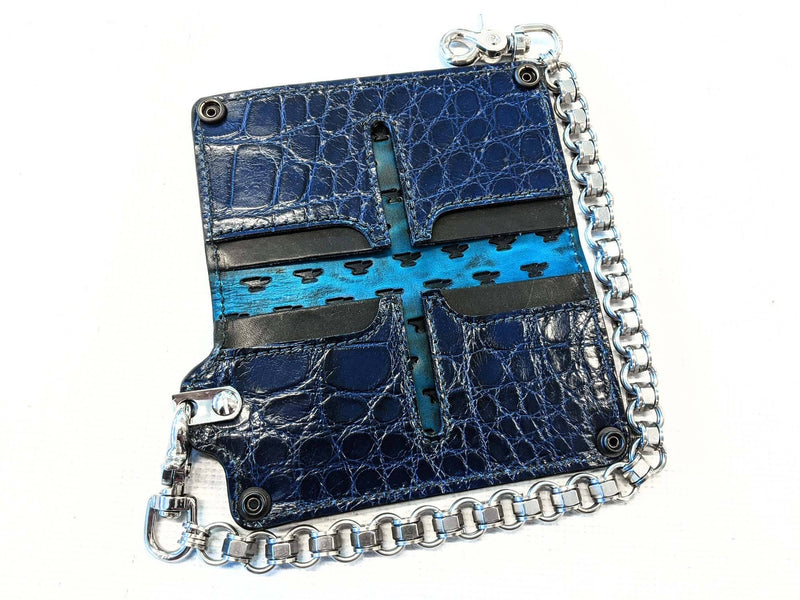 Long Biker Chain Wallet - Navy Blue Alligator - Anvil Customs