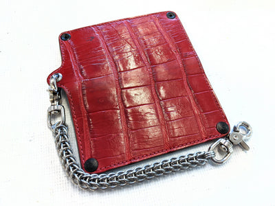Long Biker Chain Wallet - Red Alligator
