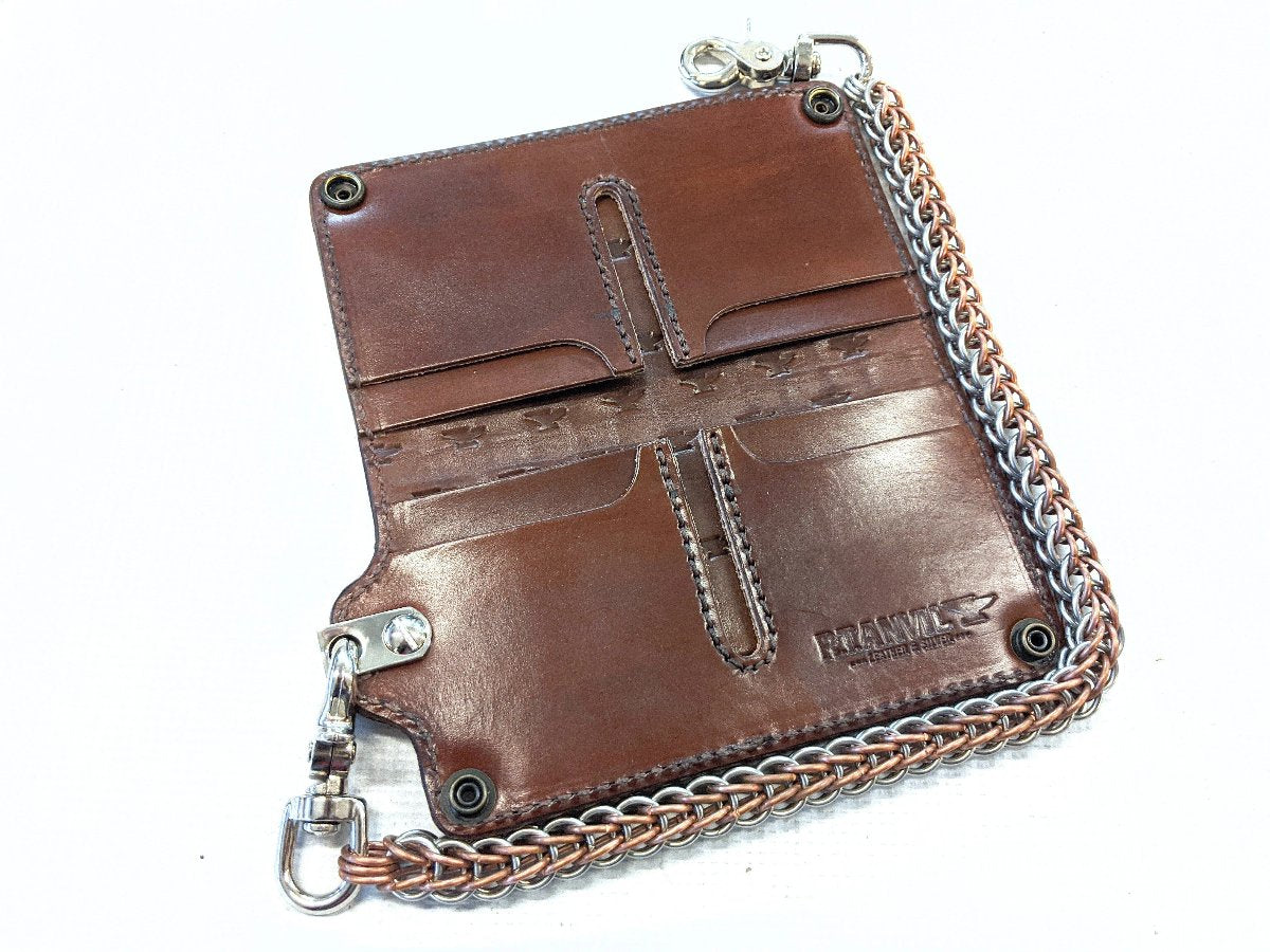 Long Biker Chain Wallet - Tan Basket Weave - Anvil Customs