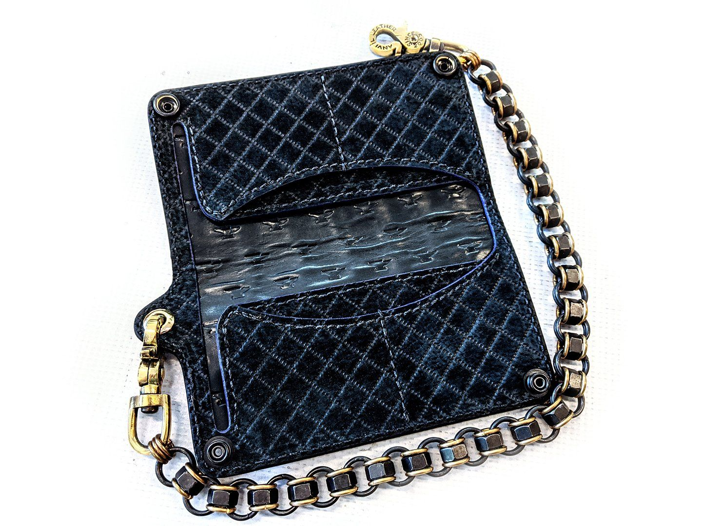 Long Biker Chain Wallet - Violet Alligator