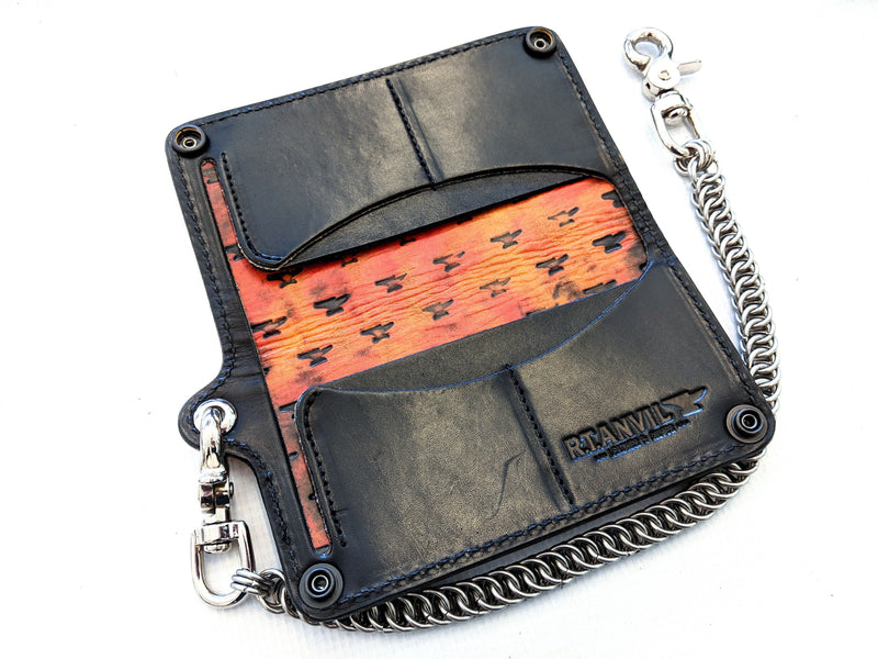Long Biker Leather Chain Wallet - Antique Orange Alligator 2 - Anvil Customs