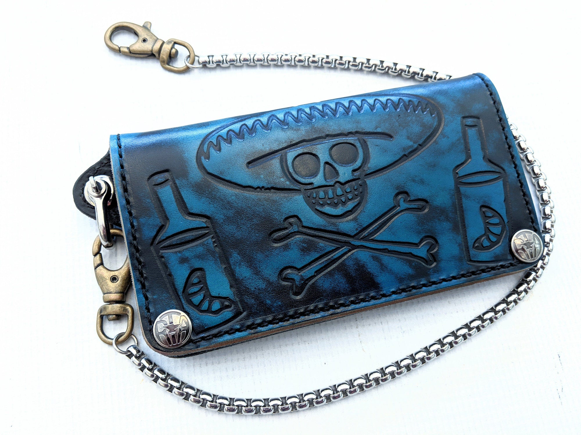 Long Biker Leather Chain Wallet - Azul - Anvil Customs