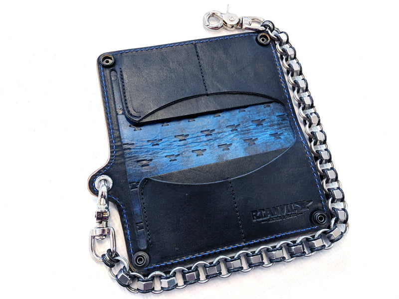 Long Biker Leather Chain Wallet - Blue and Black Iron Cross