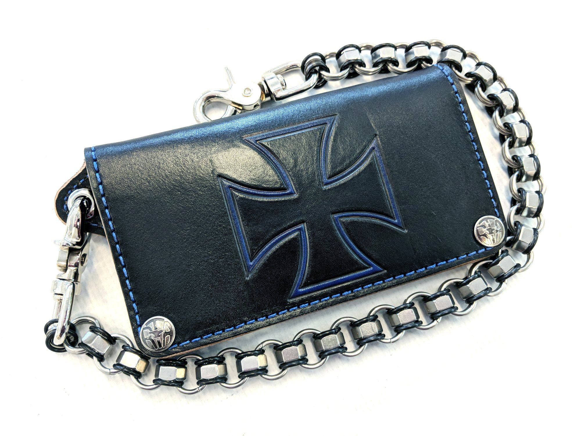 Long Biker Leather Chain Wallet - Blue and Black Iron Cross - Anvil Customs