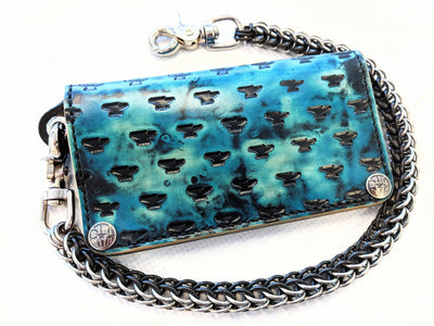 Long Biker Leather Chain Wallet - Brackish - Anvil Customs