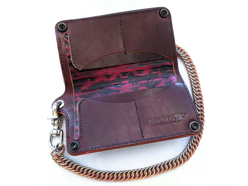 Long Biker Leather Chain Wallet - Burgundy Alligator 2 - Anvil Customs